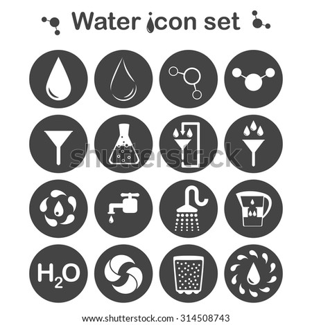 Water icon set, 16 signs, 2d vector, eps 8 - stock vector