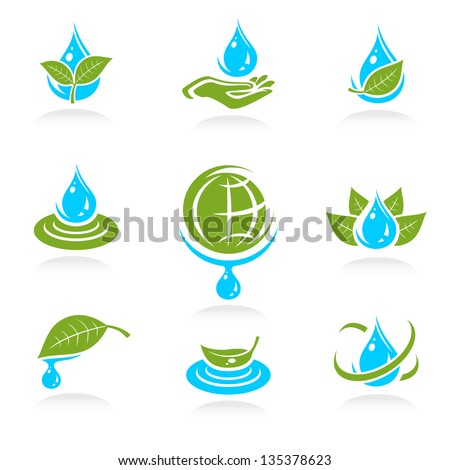 water icon set. Vector - stock vector