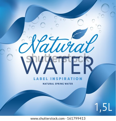 Water label on light blue background with ribbon - stock vector
