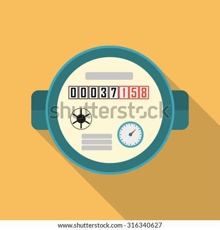 Water meter. Vector illustration of watermeter in flat design. - stock vector