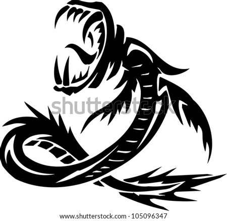 Water Monster - vector illustration. All vinyl-ready. - stock vector