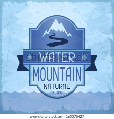 Water mountain background in retro style. - stock vector