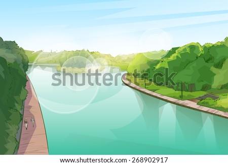 Water River Pond Jungle Forest Green Landscape Park Blue Sky Vector Illustration - stock vector