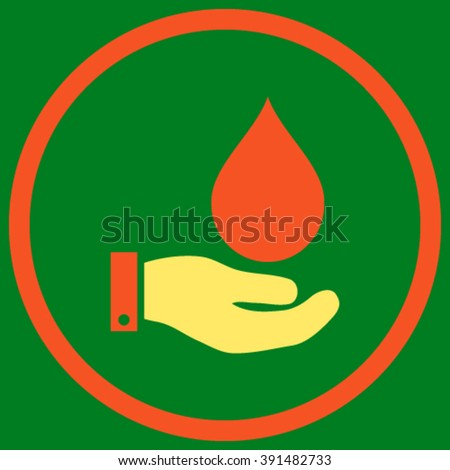 Water Service vector icon. Style is bicolor flat rounded iconic symbol, water service icon is drawn with orange and yellow colors on a green background. - stock vector