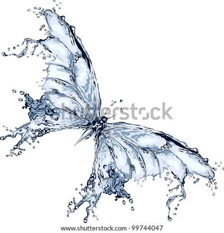Water splash butterfly - stock vector