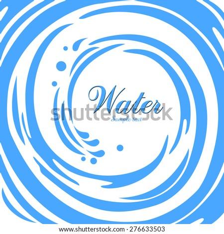 Water splash in round shape swirl frame. Vector Illustration - stock vector