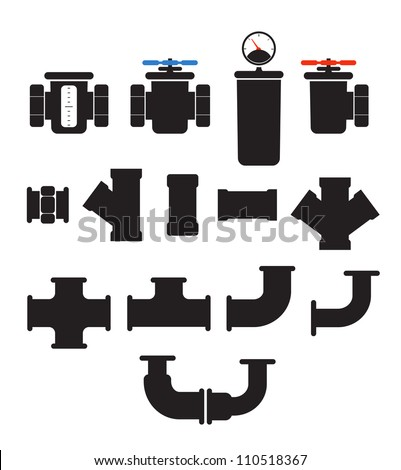 Water supply system elements vector collection. Isolated on white - stock vector