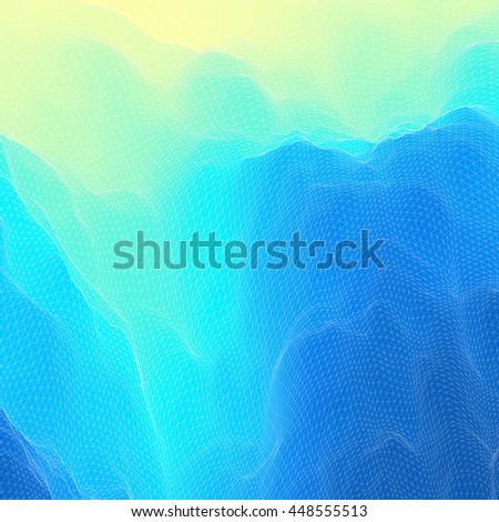 Water Surface. Wavy Grid Background. Mosaic. 3d Vector Illustration. Abstract Texture.  - stock vector