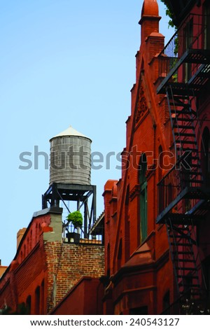 water tank on the New York rooftops. Vector realistic image - stock vector