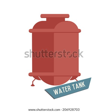 Water tank symbol on white background,Retro colour concept,clean vector  - stock vector