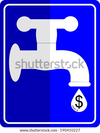 Water tap dropping dollar - stock vector