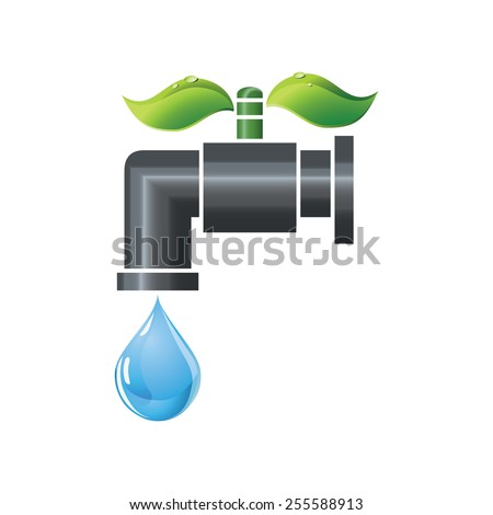 Water tap with blue water droplet and green leaves as a handle - stock vector