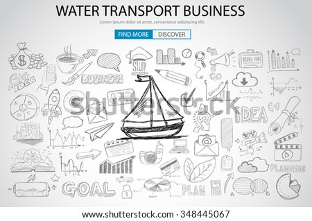 Water Transport Business Concept with Doodle design style :finding routes, monetization strategy, increase traffic. Modern style illustration for web banners, brochure and flyers. - stock vector