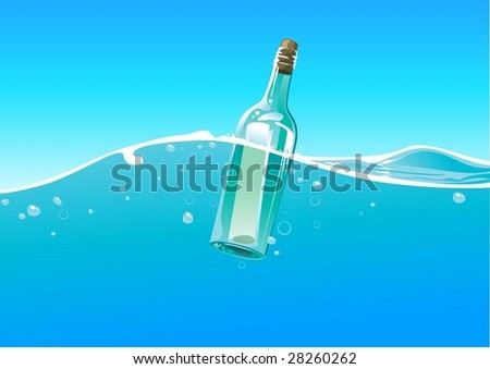 water wave and bottle - stock vector