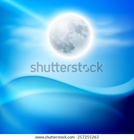 Water wave at night with full moon. EPS10 vector. - stock vector