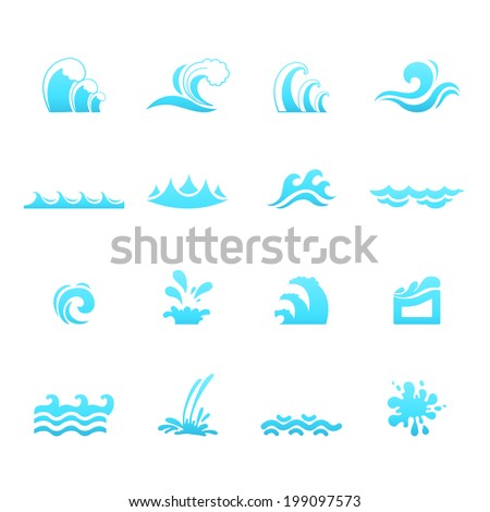 Water wave icons vector eps10 - stock vector