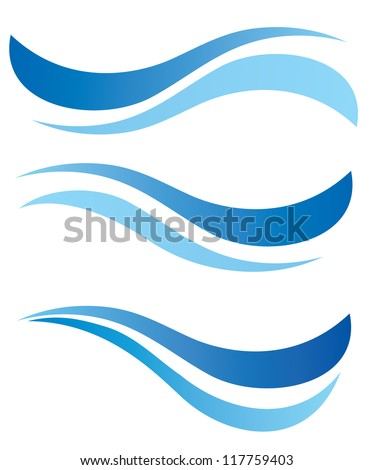 water waves design elements vector set - stock vector