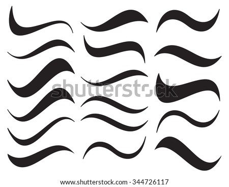 Water waves set, black isolated on white background, vector illustration. - stock vector