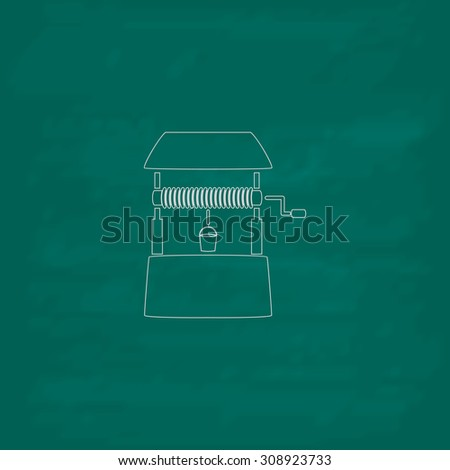 Water Well. Outline vector icon. Imitation draw with white chalk on green chalkboard. Flat Pictogram and School board background. Illustration symbol - stock vector