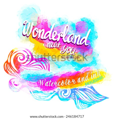 Watercolor abstract background--model for design of gift packs, patterns fabric, wallpaper, web sites, etc. - stock vector