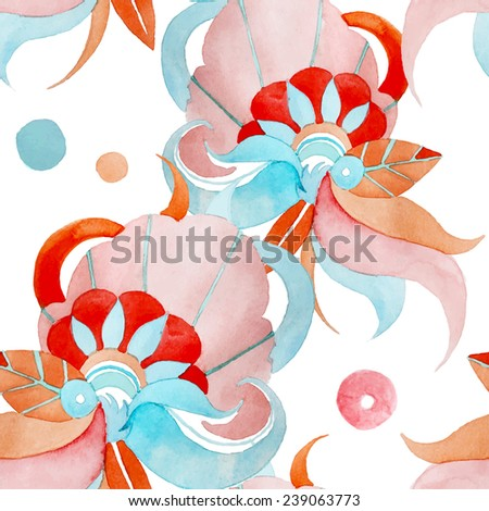 Watercolor abstract background. Orange, red, blue ornamental elements. Seamless pattern in vector. Bright fashion texture - stock vector