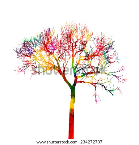 Watercolor abstract rainbow tree Isolated on white background. Vector - stock vector