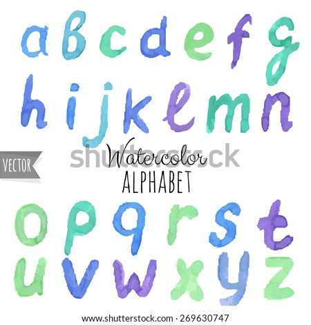 Watercolor Alphabet, Vector Illustration - stock vector