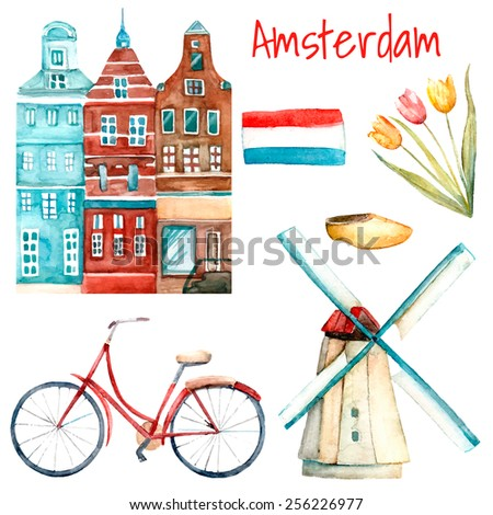Watercolor Amsterdam illustration. Set of traditional objects of Netherlands. Isolated elements in vector included buildings, tulips, windmill,  flag, bike and shoes.  - stock vector