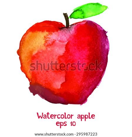Watercolor apple.  - stock vector