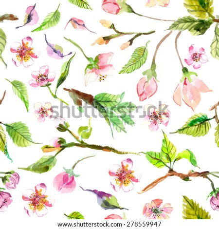 Watercolor apple flowers seamless pattern, beautiful background for design - stock vector