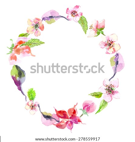 Watercolor apple flowers wreath, beautiful background for design - stock vector