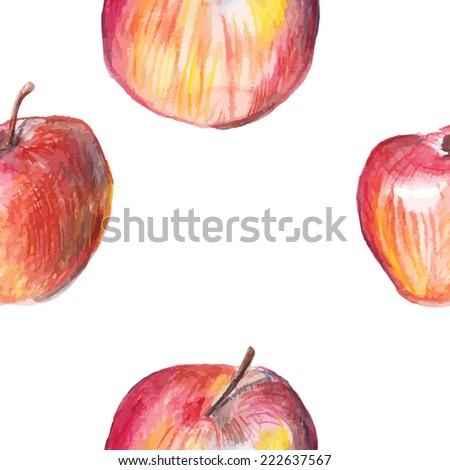 Watercolor apple seamless pattern on white background. Vector illustration - stock vector