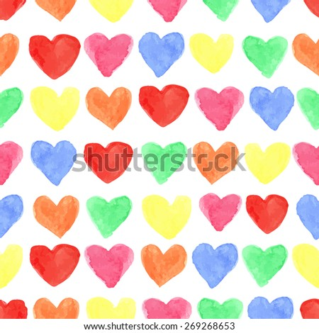 Watercolor artistic colored hearts seamless pattern .Hand drawing Baby background,wallpaper,fabric,backdrop.Wedding,valentine day romantic vector,painted texture,funny holiday - stock vector