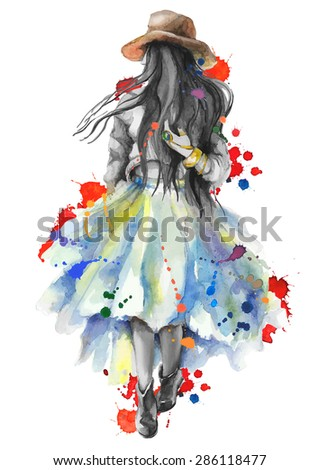 Watercolor artwork with a  walking girl in splashes. Boho style. Gray scale stylization. Hand drawn vector illustration - stock vector