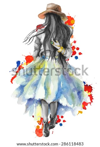 Watercolor artwork with a  walking girl in splashes. Gray scale stylization.Boho style.  Hand drawn vector illustration - stock vector