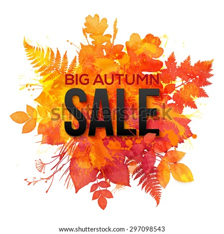Watercolor autumn foliage vector sale banner - stock vector
