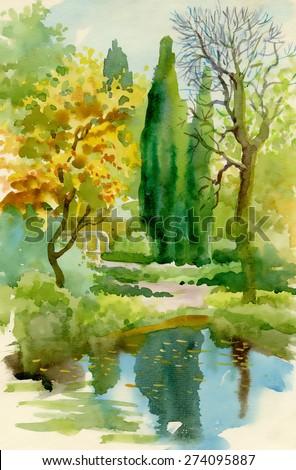 Watercolor autumn river nature landscape vector illustration - stock vector