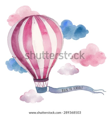 Watercolor back to school card with air balloon and clouds. Hand drawn vintage collage illustration with hot air balloon and banner in sky. Vector design - stock vector