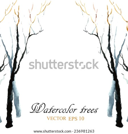 Watercolor background. Bare winter branches of the trees. - stock vector