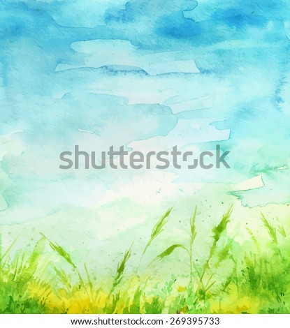 Watercolor background. Grass and sky. - stock vector