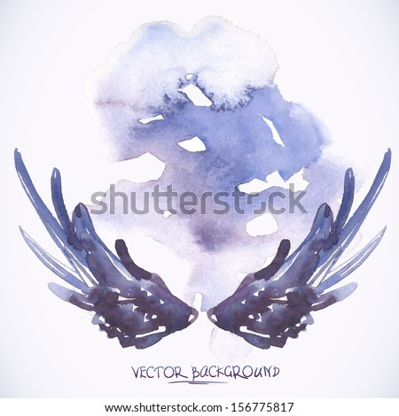 Watercolor background with angel wings  - stock vector
