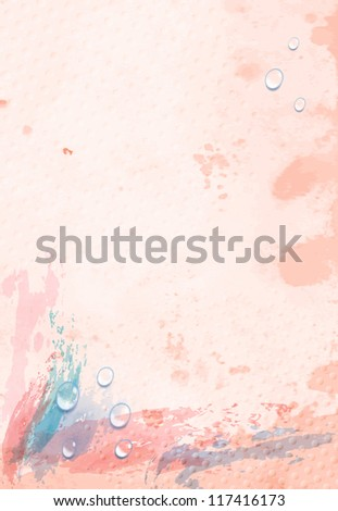 watercolor background with drops - stock vector