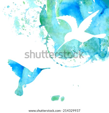 Watercolor Background with Hummingbirds - stock vector