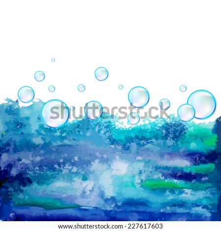 Watercolor background with water bubbles. Vector  - stock vector