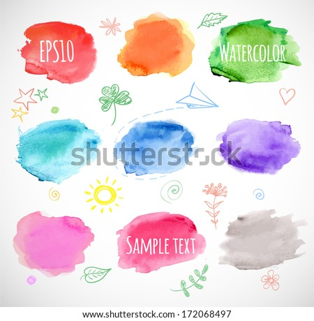 Watercolor backgrounds. Vector illustration.  - stock vector