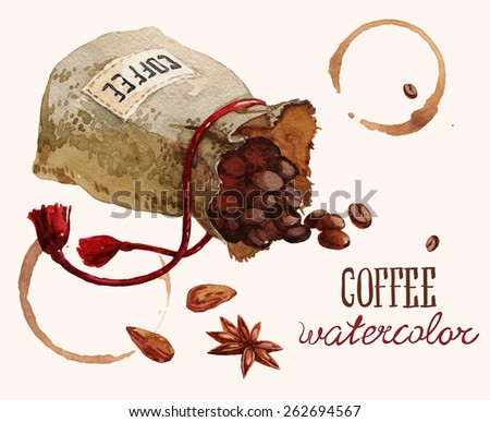 Watercolor bag with coffee beans over white - stock vector