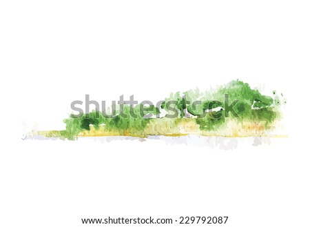 Watercolor beach with forest, vector illustration - stock vector
