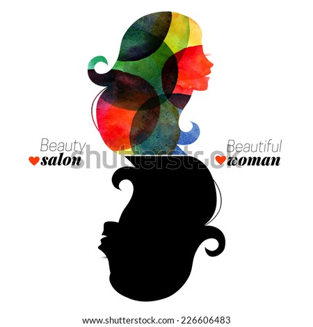 Watercolor beautiful girl. Vector illustration. Design concept for woman beauty salon - stock vector
