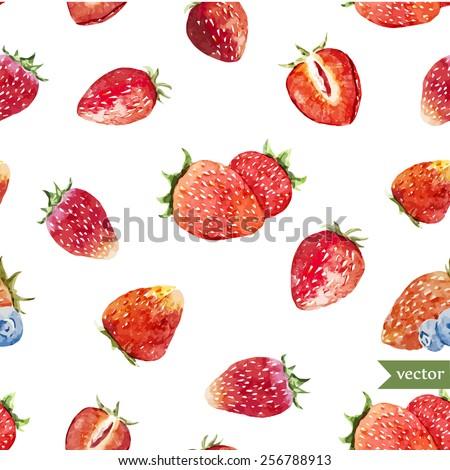 watercolor, berry, strawberry, pattern - stock vector