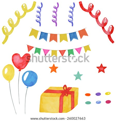 Watercolor birthday design elements.  Hand drawn set with balloons, gift and festive attributes. Vector illustration - stock vector